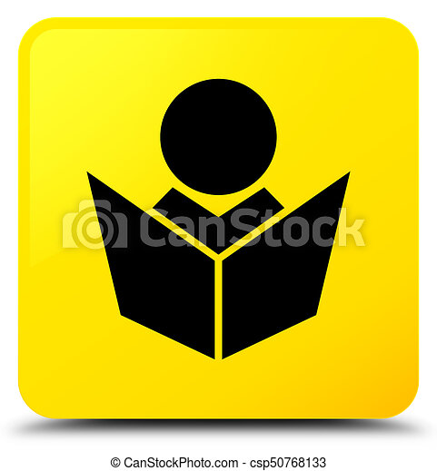 Elearning icon yellow square button - csp50768133
