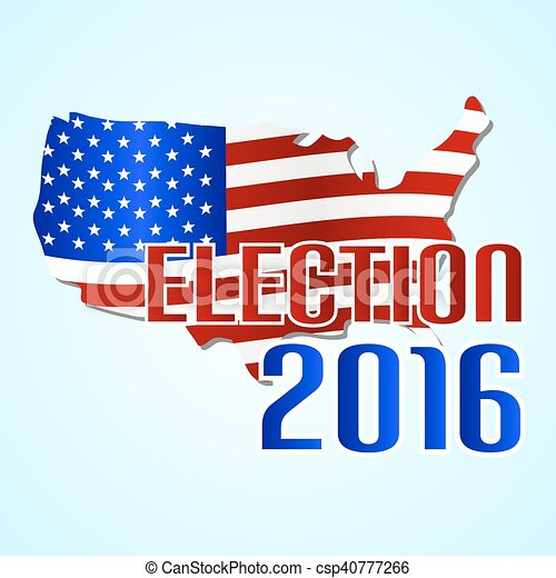 Election 2016 in the united states of america with map flag eps10.