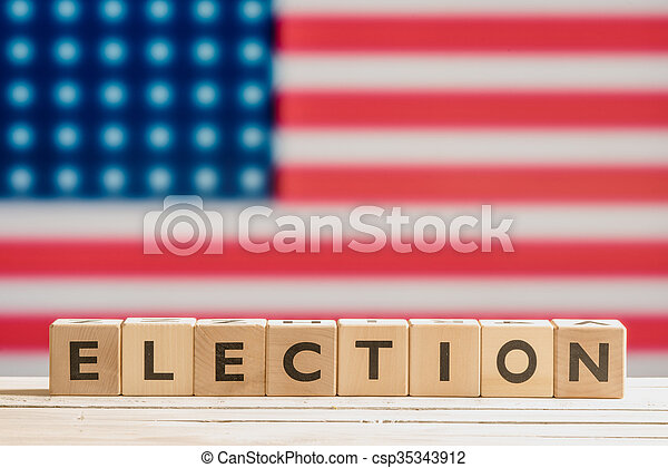 Election sign with the american flag - csp35343912
