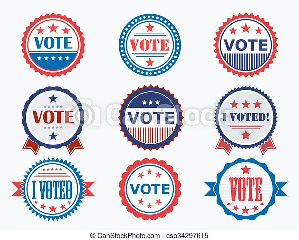 Election Voting Stickers and Badges - csp34297615