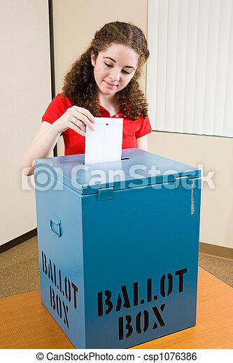 Election - Young Voter Casts Ballot - csp1076386