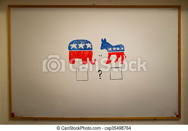 elections., concept., 共和党員, 同時である, ∥対∥, 民主主義者, 政治 - csp35498764