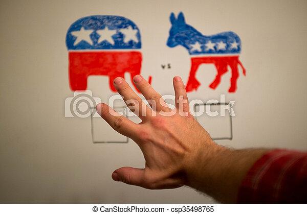 elections., concept., 共和党員, 同時である, ∥対∥, 民主主義者, 政治 - csp35498765