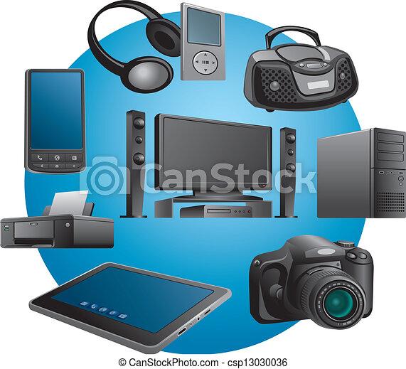 Electrónica aplica iconos - csp13030036