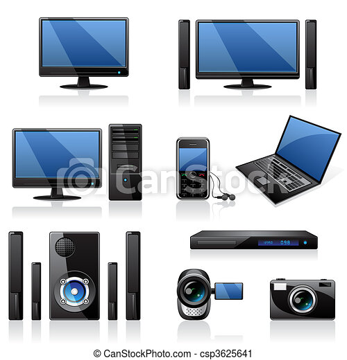 Computadoras y iconos electrónicos - csp3625641