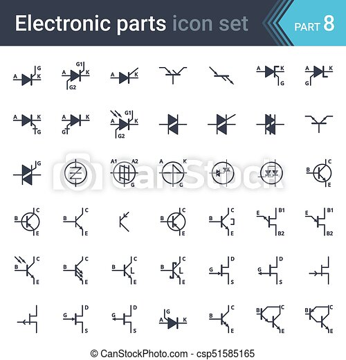 electric and electronic circuit diagram symbols set of thyristors rh canstockphoto com