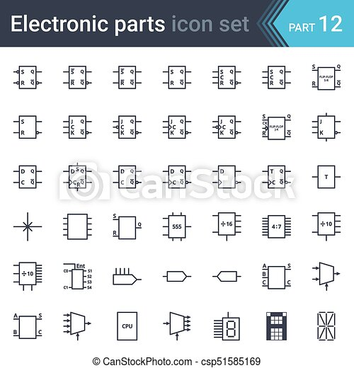 Electric and electronic circuit diagram symbols set of digital ...