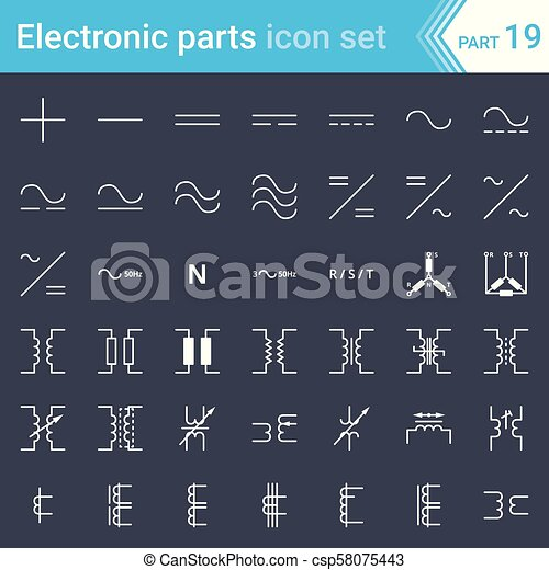 electric and electronic icons, electric diagram symbols current, three phase connections and electrical transformers Electrical Breaker Wiring Diagram