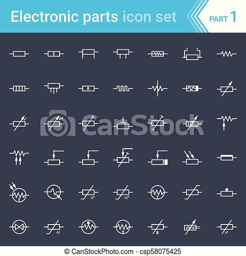 electronic schematics symbols circuits electric and electronic icons  electric diagram symbols resistors  electric and electronic icons  electric