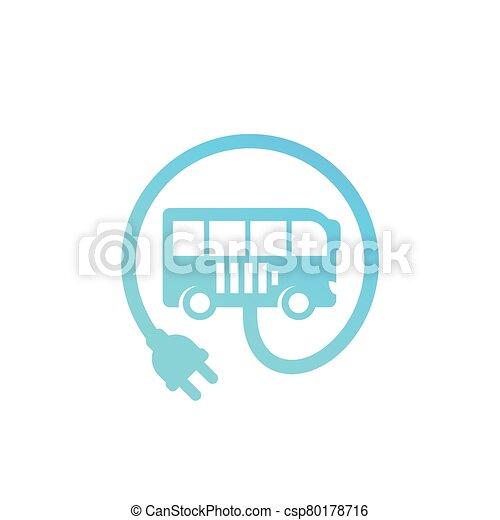 electric bus with plug vector icon - csp80178716