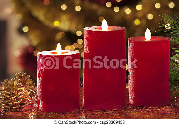 Electric Christmas Candles.Electric Candles With Christmas Decorations In Atmospheric Light