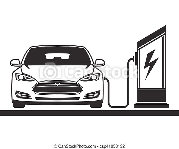 Vectors Of Electric Car And Filling Station Electric Vehicle And