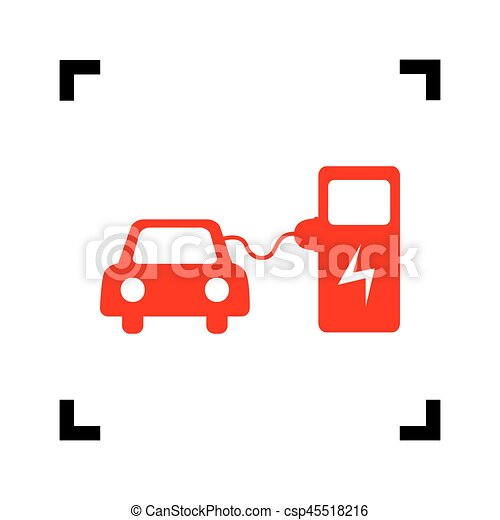 Electric Car Battery Charging Sign Vector Red Icon Inside Black Focus