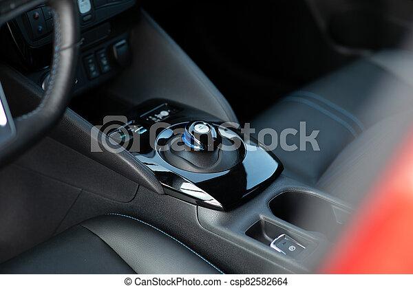 Electric car parking shifter. Button Of Car Parking. Smart technology. Parking brake button. - csp82582664