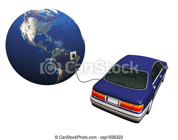 Electric car plugged in to earth, charging it\'s batteries. - csp1936322