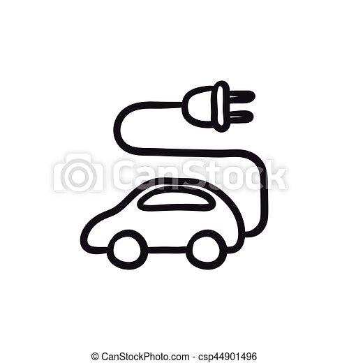 Eps Vectors Of Electric Car Sketch Icon Electric Car Vector