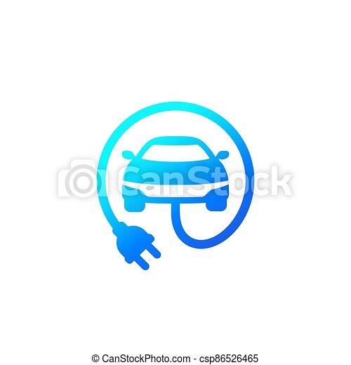 electric car with plug icon, vector - csp86526465