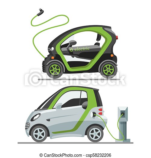 Electric car with solar panels eco transport vector illustration automobile socket electrical car battery charger. - csp58232206