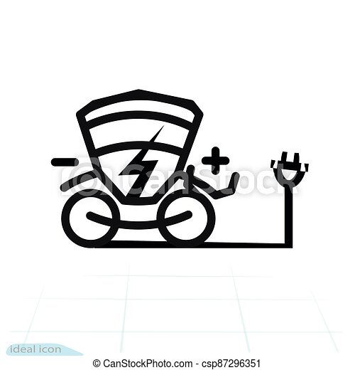 Electric Carriage vector icon. Trekking e-bike line silhouette with electricity flash lighting thunderbolt sign. Carriage car. Designation of Parking spaces for charging - csp87296351