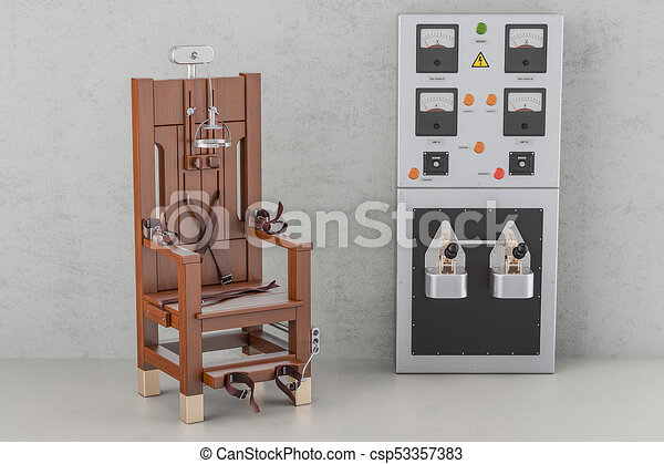 Electric chair with electrical power panel box, 3d rendering stock ...