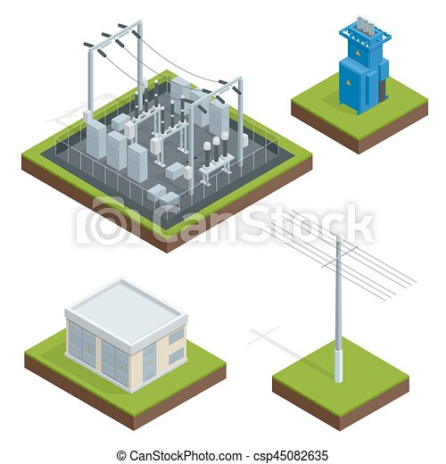 Electric Energy Factory Distribution Chain Communication Technology Town Vector
