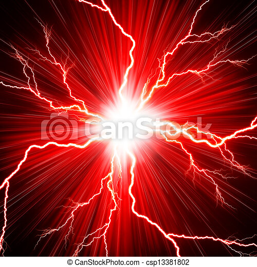 Electric flash of lightning on a red background - csp13381802
