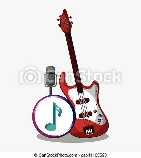 electric guitar and microphone design electric guitar and microphone icon music sound musical. Black Bedroom Furniture Sets. Home Design Ideas