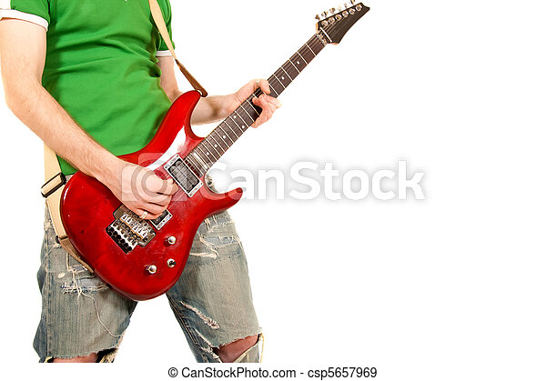 electric guitar being played - csp5657969