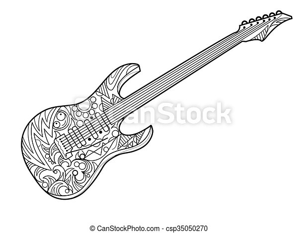 Electric guitar coloring book for adults vector illustration. violin ...