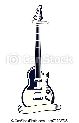 Electric Guitar Drawn Tattoo Icon Electric Guitar Drawn In Black And White Tattoo Icon With Ribbon Banner Vector