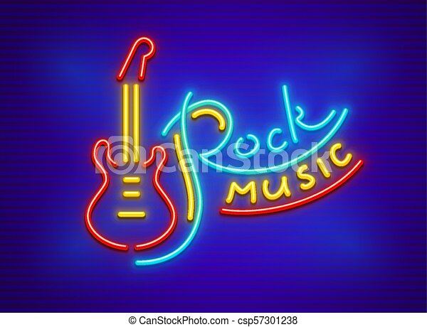 Electric guitar for rock music neon sign - csp57301238