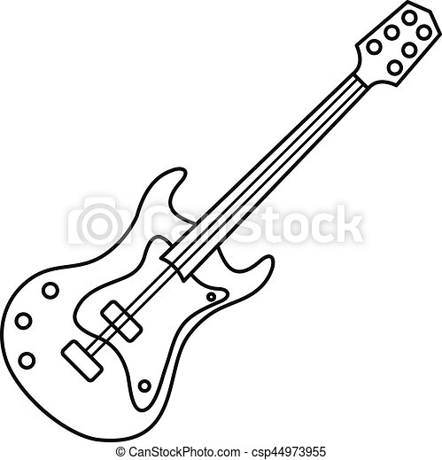 Electric Guitar Icon Outline Style Electric Guitar Icon Outline