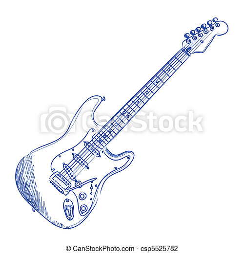 Sketch Of An Electric Guitar In Blue Ink Vector Illustration