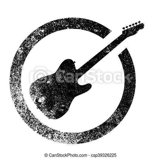 Electric Guitar Ink Stamp - csp39326225