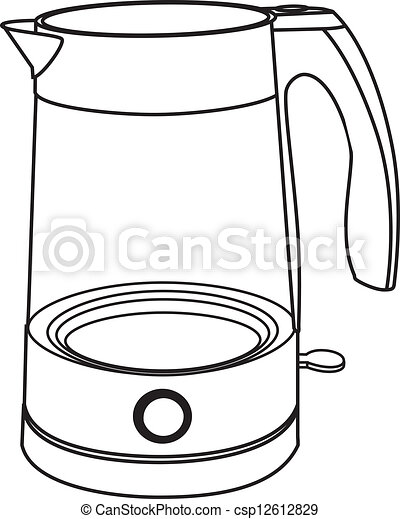 Electric kettle isolated on white. Boiling Teapot Clipart