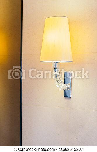 Electric light lamp on wall decoration interior - csp62615207