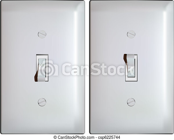 Electric Light Switch In On And Off Positions Vector
