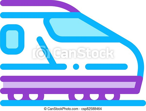 electric passenger train icon vector outline illustration - csp82588464