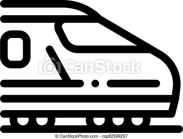 electric passenger train icon vector outline illustration - csp82599257