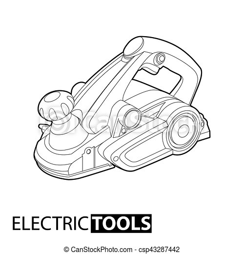 Outline Electric Plane Jointer On White Background