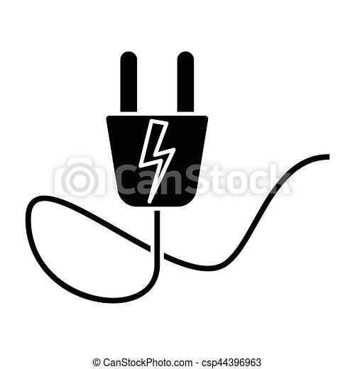 Simple Flat Black Electric Plug Icon Vector