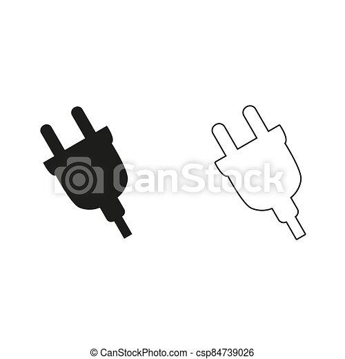 electric plug - green vector icon - csp84739026