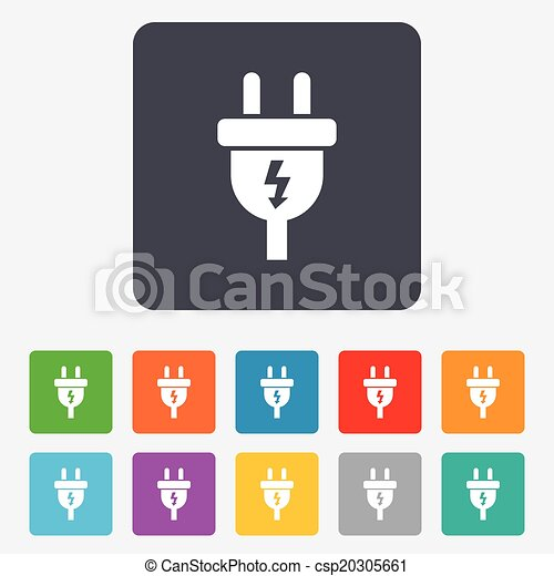 Electric Plug Sign Icon Power Energy Symbol Lightning Sign