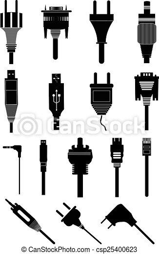 Electric plugs icons set - csp25400623