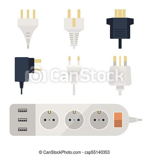 Electric plugs stack outlet illustration energy socket... clipart ...