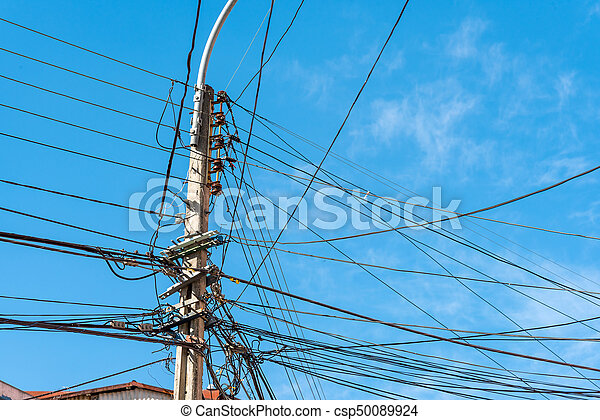Electric post with a lot of wires - csp50089924
