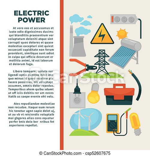 Electric power obtainment and usage promotional poster with sample text - csp52607675