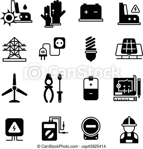 Electric Power Plant Electricity Electronic Tools Vector Icons