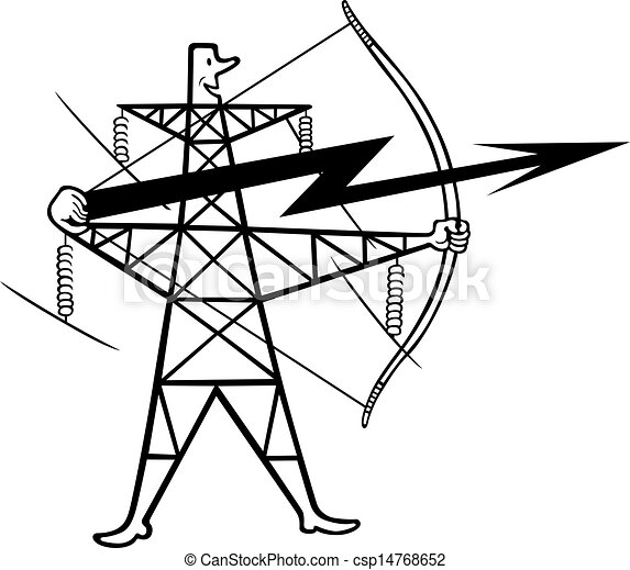 Electric Power Transmission Support Stock Illustration