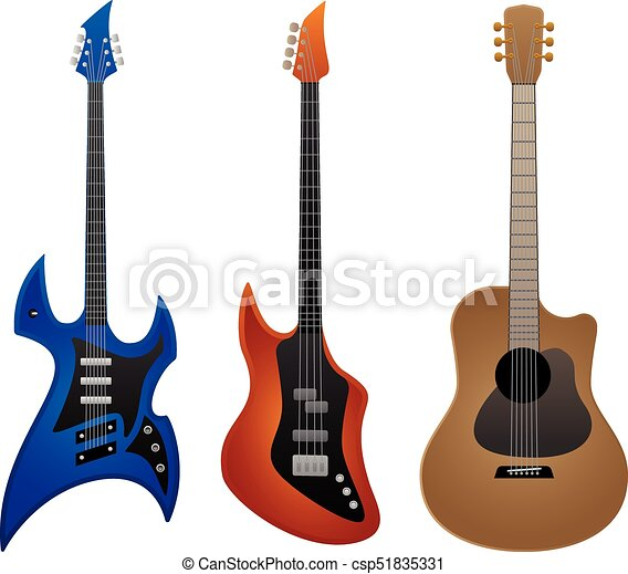 electric rock guitar bass guitar and acoustic guitar vector illustration sharp looking heavy. Black Bedroom Furniture Sets. Home Design Ideas